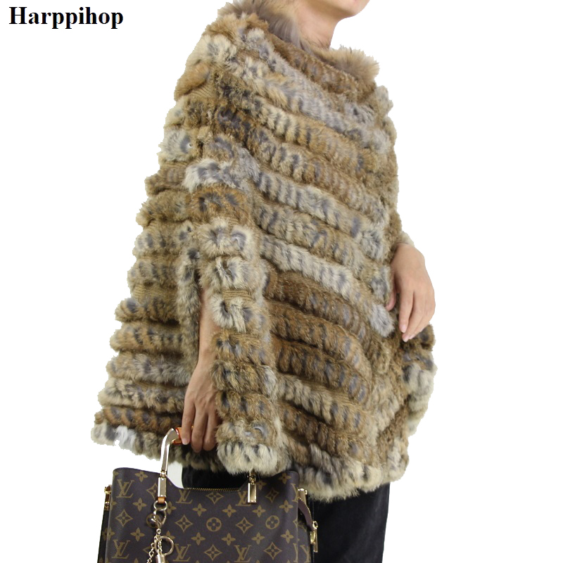 Women's Luxury Pullover Knitted Genuine Rabbit Fur Raccoon Fur Poncho Cape Real Fur Knitting Wraps Shawl Triangle Coat 2018 hot