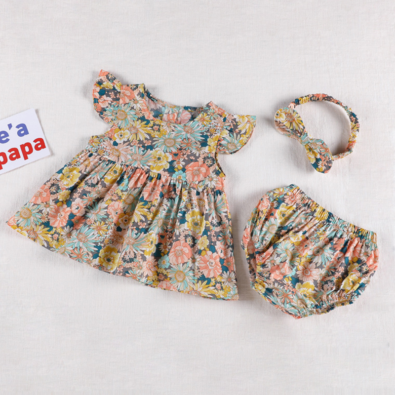 Korean Japan Style Baby Girls Clothing Sets Dress Tops+ PP Shorts Summer Baby Girls Cotton Flower Short sleeve Clothes Suit 1