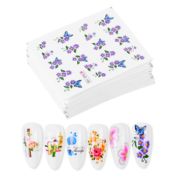 55pcs/lot Summer  Flower Nail Water Transfer Sticker Rose Leaf Decal Nail Art Decoration Manicure set lcj 1pc nail stickers water decal animal flower plant pattern 3d manicure sticker nail art decoration