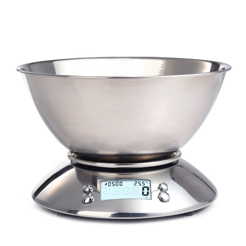 5Kg//1G Stainless Steel Digital Kitchen Food Bowl Scale with Clock Temperature