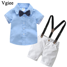 Vgiee Kids Clothing Baby Boy Children Set Cotton Polyester Shorts V-Neck Clothes Boys CC693