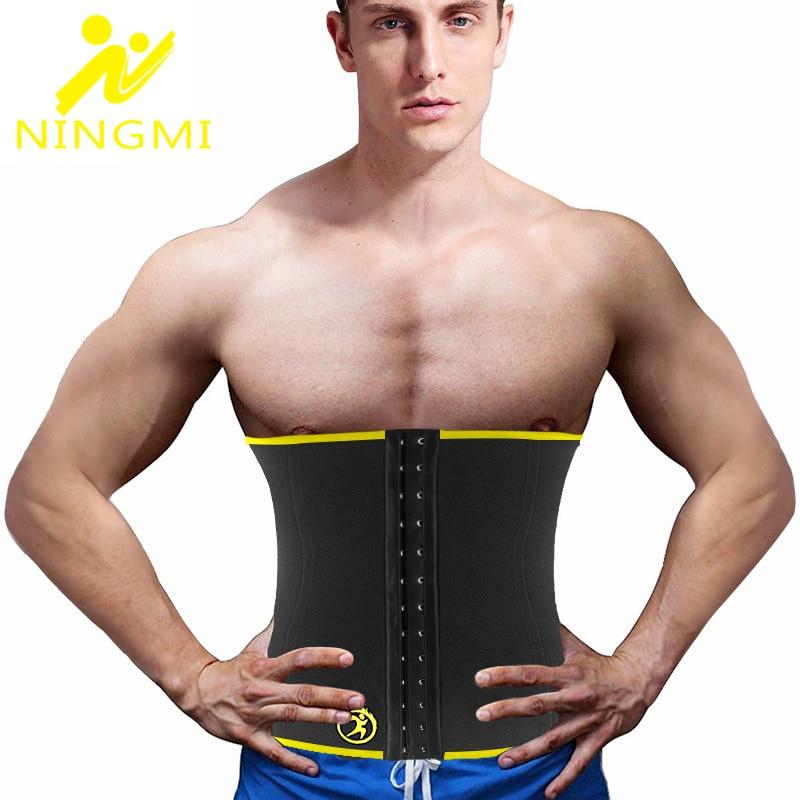 NINGMI Abdominal Belt Mens Body Shaper Slim Waist Trainer Neoprene Sauna Shapewear Slimming Waist Cincher Corset Fajas Sport Top
