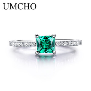 Image 2 - UMCHO Green Emerald Gemstone Rings for Women Genuine 925 Sterling Silver Fashion May Birthstone Ring Romantic Gift Fine Jewelry