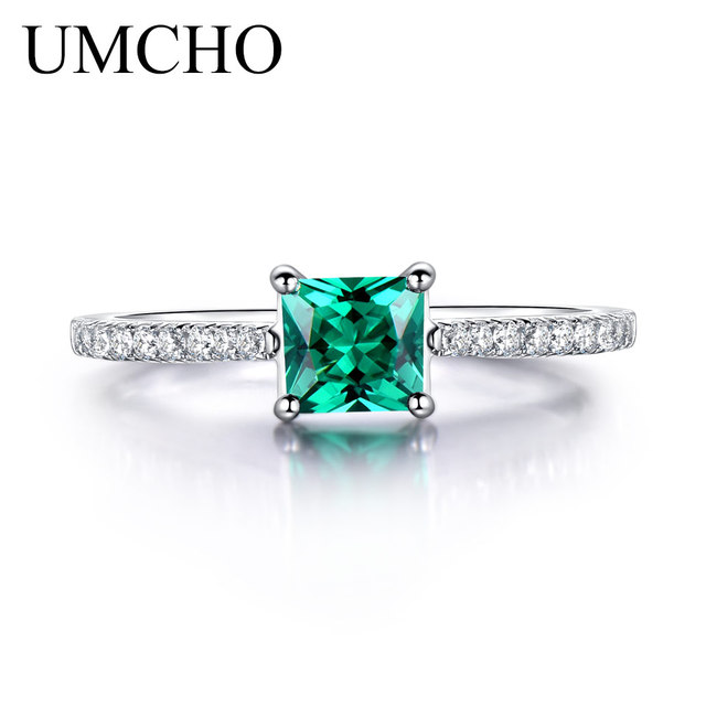 UMCHO Green Emerald Gemstone Rings for Women Genuine 925 Sterling Silver Fashion May Birthstone Ring Romantic Gift Fine Jewelry 1