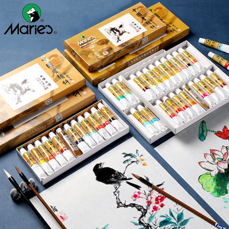 Marie's Chinese Painting Pigment 5/12ML 12/18/24/36 Colors Ink Painting Paste Water Color Pigment Students/Beginners Supplies