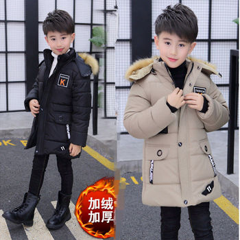 INS hot boy cotton coat in winter plus velvet thick cotton jacket in the long section of the boy's cotton coat children's coat 2017 new winter in the european version of the long thickening of cotton men s jacket to increase the size of hood slim