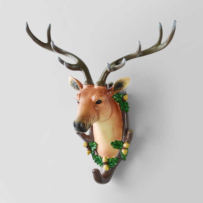 Home Statue Decoration Accessories Living Room Mural Wall Sculpture Decor Resin Deer Head Statues Decorative Hooks Organizer