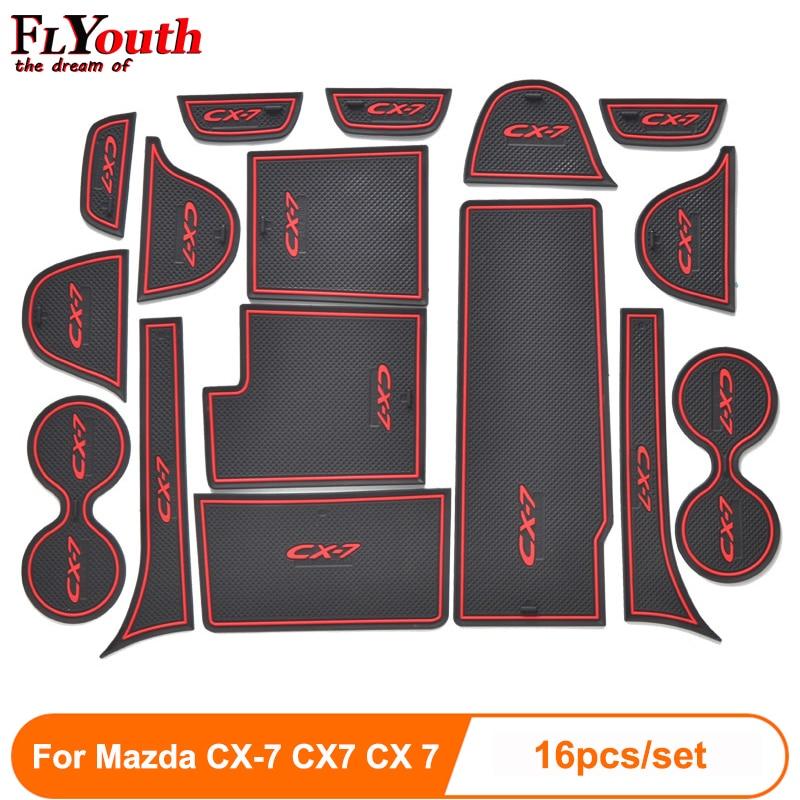 16pcs set 3D Rubber Mat Non-slip Interior Cup Pad Door Groove Mat For Mazda CX-7 CX7 CX 7 Car door mat Auto Accessories Styling