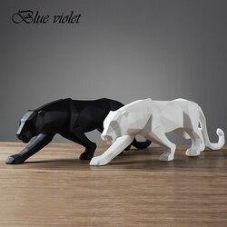 [MGT] 4 colores modernos abstractos negro/blanco geométrico leopardo estatua de resina de escritorio Pantera escultura artesanal decoración Animal figurita
