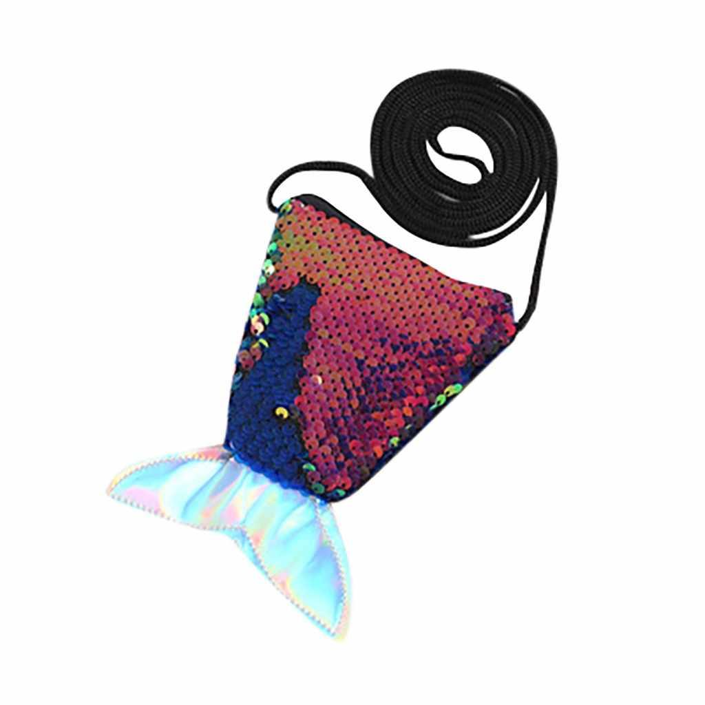 Lantejoulas Crianças Meninas Bolsas de Ombro Saco Do Mensageiro Saco de Moeda Bolsas Rabo de Peixe Pequeno Bonito Crianças Crossbody Bag Chave Packet # HY