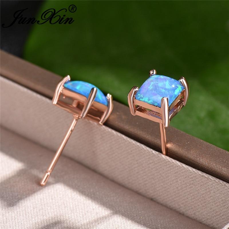 Rainbow Blue Fire Opal Earrings 4/5/6/7MM Princess Square Stud Earrings For Women Wedding Ear Studs Rose Gold Party Jewelry Gift