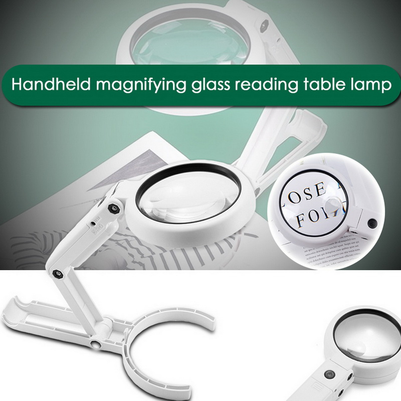 5X 11X Magnifying Glass Dual Use Table Lamp Bright Stand Non Slip Hand Held 8 LED Magnifier Lamp for Reading Crafting Repairing
