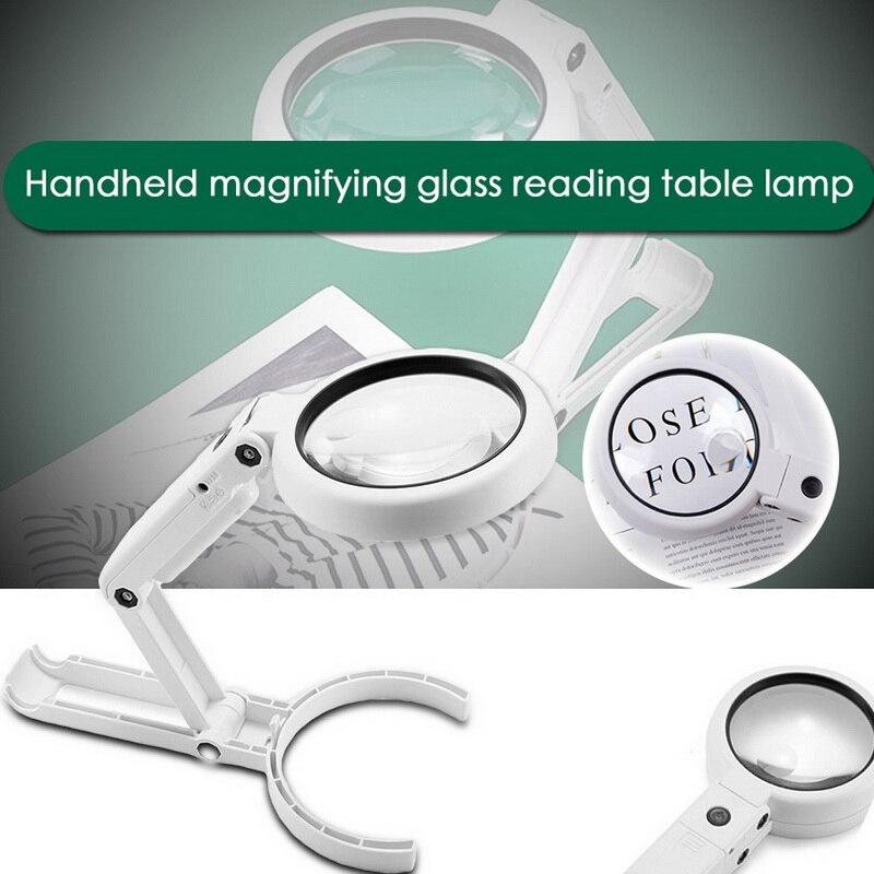 5x 11x 돋보기 듀얼 사용 테이블 램프 밝은 스탠드 비 슬립 핸드 개최 8 led 돋보기 램프 읽기 공예 복구