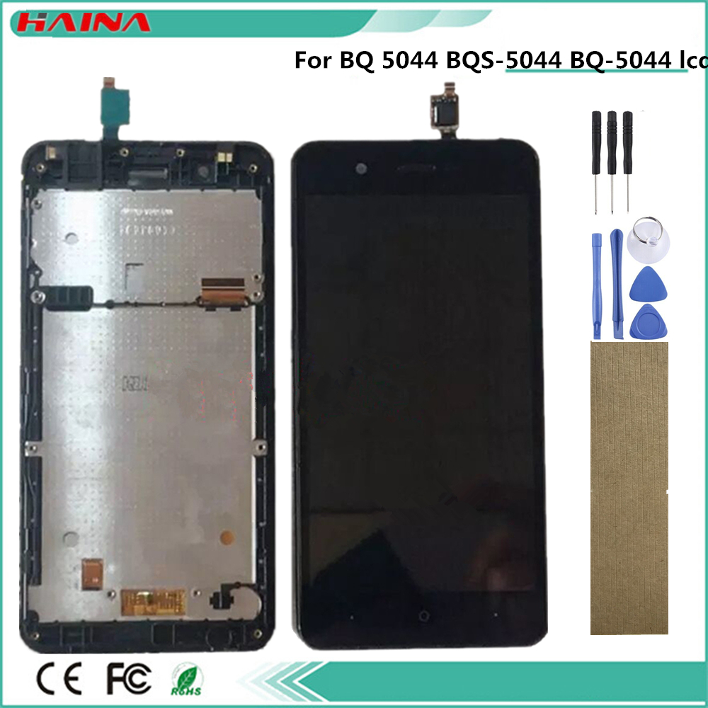 Tape Mobile Phone Frame+ Lcd+Touch Assembly For <font><b>BQ</b></font> <font><b>BQ</b></font>-<font><b>5044</b></font> BQS-<font><b>5044</b></font> <font><b>BQ</b></font> <font><b>5044</b></font> BQS <font><b>5044</b></font> Stricke LTE Lcd Display <font><b>Screen</b></font> Digitizer image