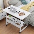 Holz Laptop Tisch mit Rädern Regal Höhe Einstellbar Laptop Schreibtisch Computer Stand Schreibtisch für Sofa Bett Neben-in Laptop-Tische aus Möbel bei