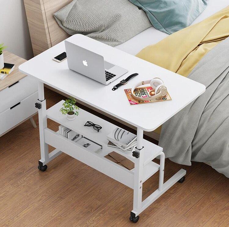 Mesa do portátil de madeira com rodas prateleira altura de armazenamento ajustável mesa do computador suporte para sofá cama ao lado