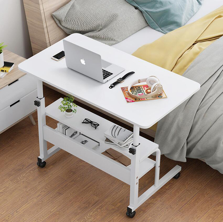 Wooden Laptop Table With Wheels Shelf Storage Height Adjustable Laptop Desk Computer Stand Desk For Sofa Bed Beside