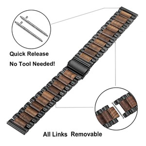 Image 2 - Natural Wood & Stainless Steel Watchband + Link Remover for Samsung Galaxy Watch 42mm 46mm SM R810/R800 Quick Release Strap Band