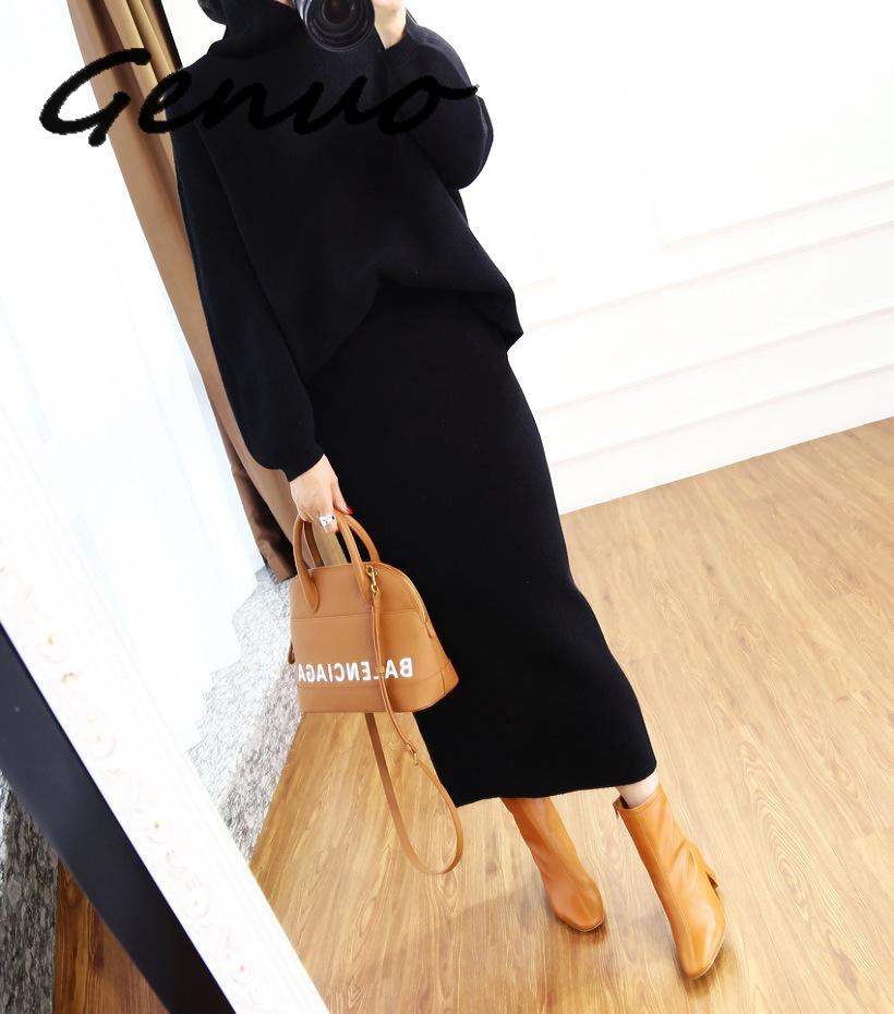 2019 Autumn Winter High Collar Cashmere Sweater Korean Version Of The Loose Sweater Women's Knitted Two-piece Suit Bag Hip Skirt