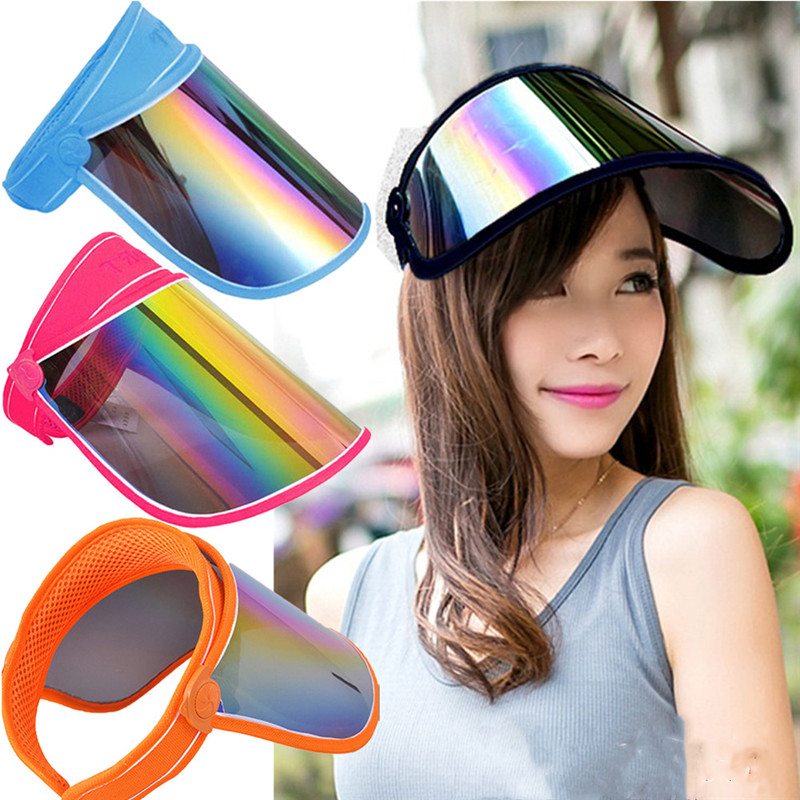Unisex Casual Summer Hats Women Sun Cap Candy Color Transparent Empty Tops Baseball Caps Plastic PVC Sunshade Hat Visor Caps Men