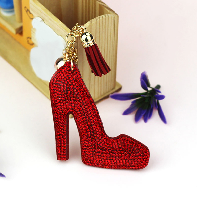 Cute High Heel Keychain Full Rhinestone Crystal Keyring Car Key Chain Women Key Holder Ring Bague Wholesale Jewelry Gifts(China)