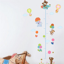 Elephant Bear Monkey Balloon Aircraft Height Measure Wall Stickers For Kids Rooms Cartoon Animals Growth Chart Mural Decals