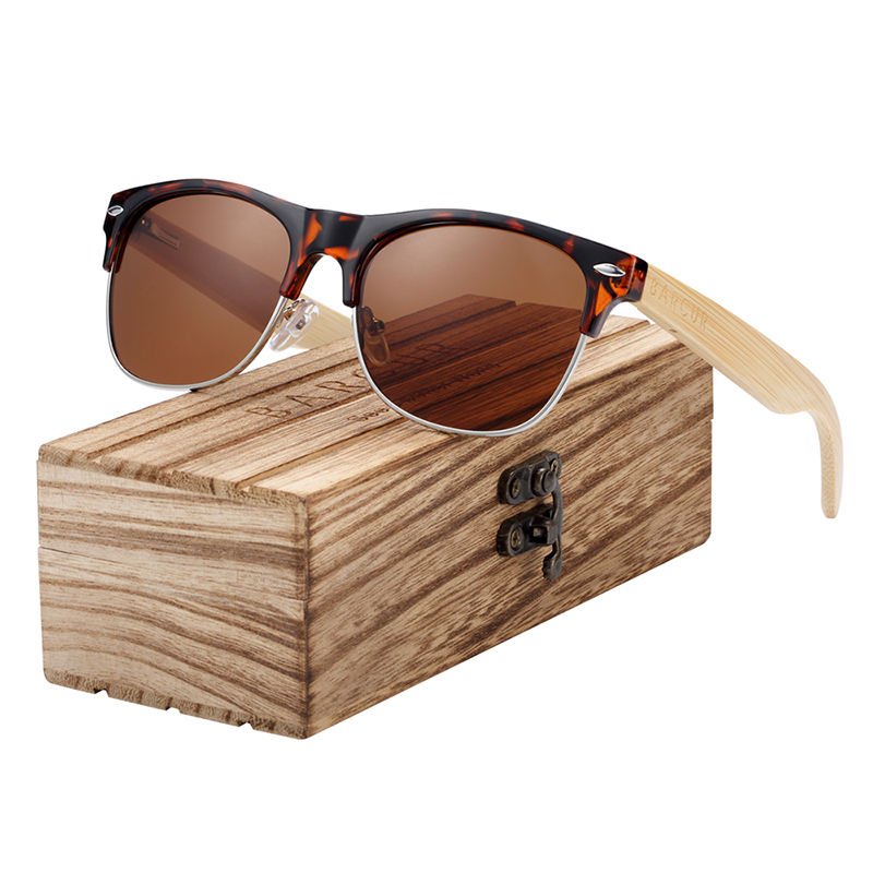 BARCUR Brand Bamboo Polarized Sunglasses Wood Men Women UV400 Protection BC4000
