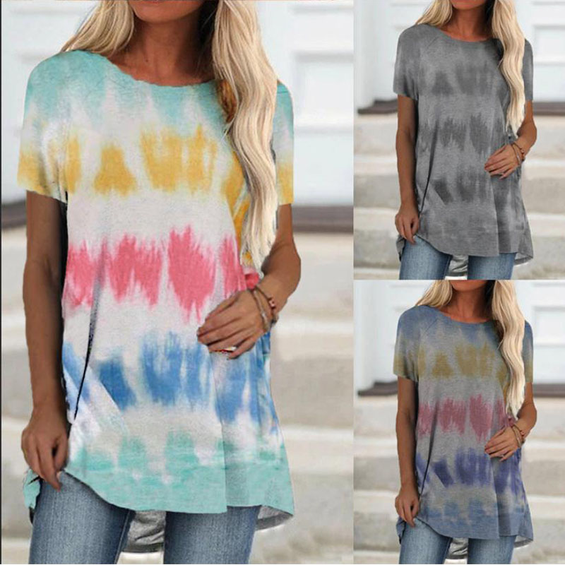 Women's New Gradient Stripe Printed Round Neck Short Sleeve T Shirt Casual Loose Top Fashion Plus Size Clothing