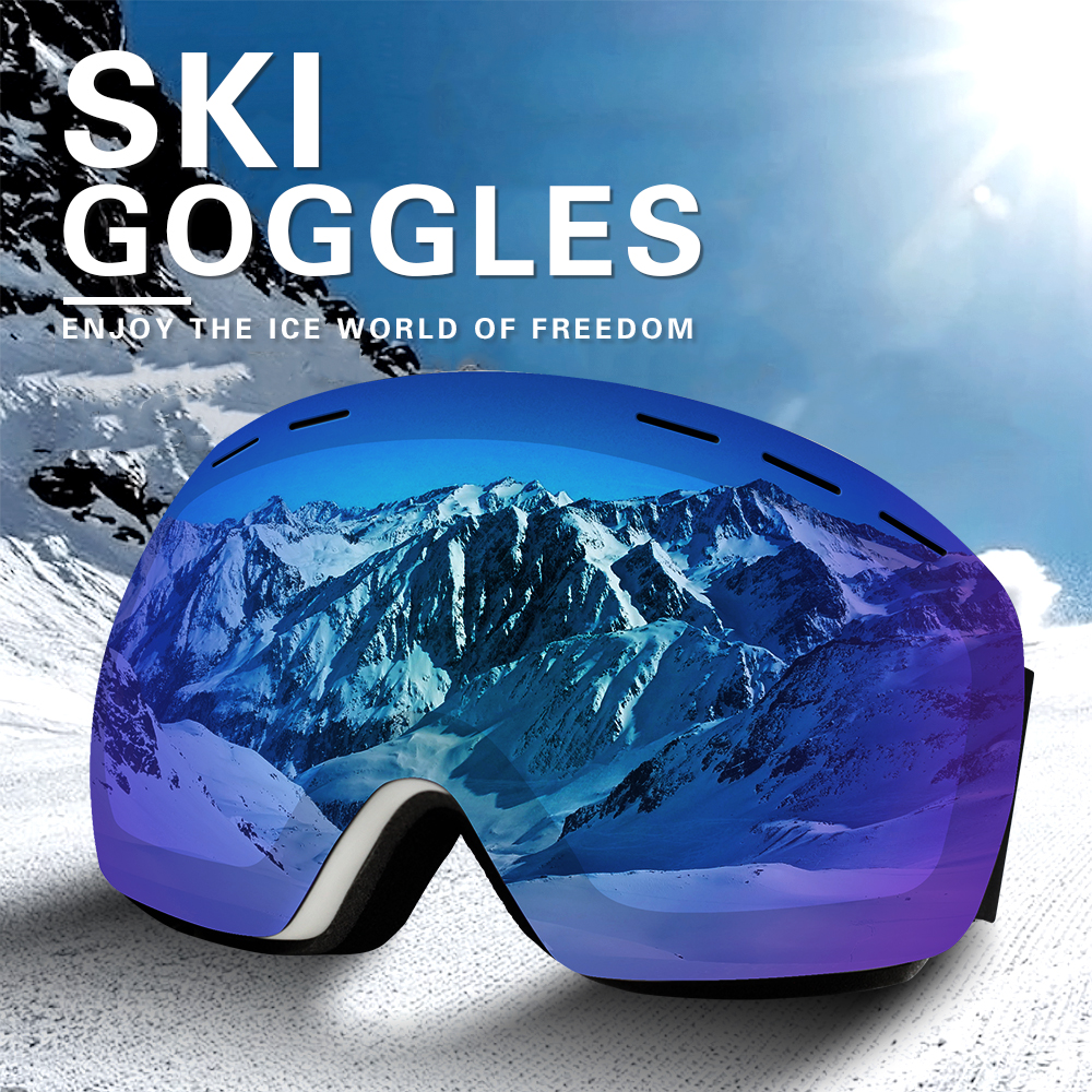DMAR Ski Goggles Spherical Anti-fog Protection Double Layers Keep Warm Big Lenses Glasses Men Women Snow Goggles Skating
