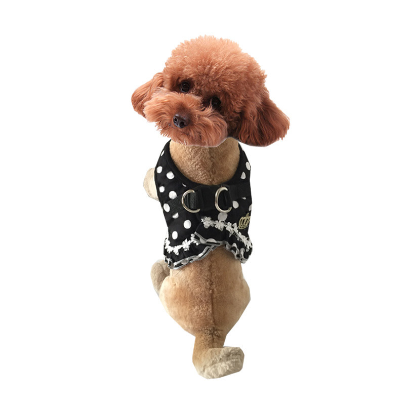 Pet Dog Traction Belt Hand Holding Rope Small Dogs Debutante Polka Dot Chest And Back Teddy Dog Clothes Pet Chest And Back Heart