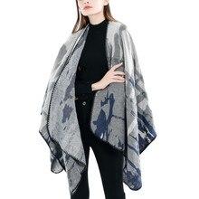 цена на 2019 Fashion Women Blanket Flowers Camouflage Pattern Coat Wrap Cozy Shawl Poncho Scarf Wrap Shawl Winter Women's Long Shawl