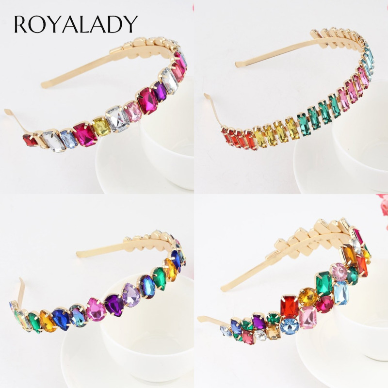 Baroque Sparkly Rhinestone Jewel Hair Bands Headband For Women Wedding Bride Flower Crystal Hairband Hoop Bezel Hair Accessories