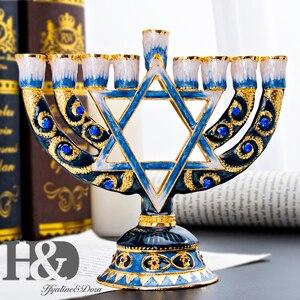 Image 3 - H & D Hanukkah Menorah El Boyalı Emaye Mumluk Chanukah Menorah Tapınak Altıgen Yıldız David Şamdanlar 9 Şube ev Partisi Dekorasyon Kutsal Hediye