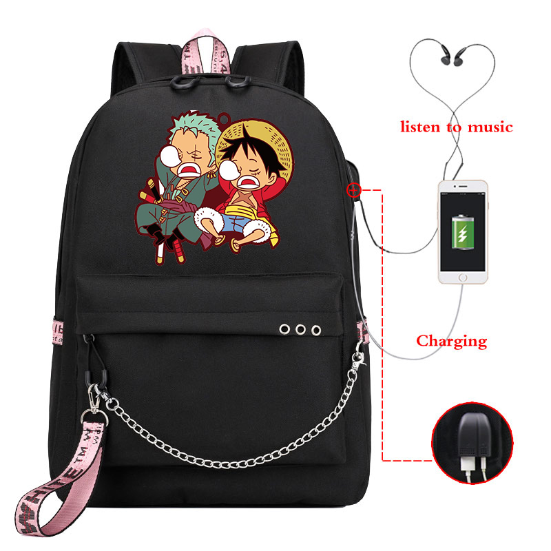 One Piece Backpack Usb Charger <font><b>Canvas</b></font> School <font><b>Bags</b></font> Anime <font><b>Mochila</b></font> Bagpack Fashion Students <font><b>Mochila</b></font> <font><b>Escolar</b></font> Boys Girls Bookbag image