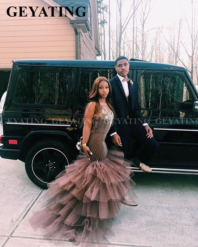 Sexy Mermaid Tiered Tulle Brown African Prom Dresses 2020 Elegant Off Shoulder Crystal Semi Formal Dress Graduation Gala Gowns