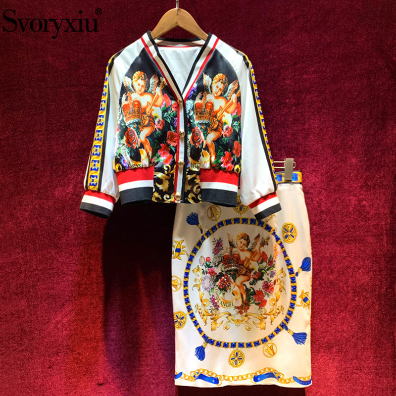 Svoryxiu New Autumn Winter Runway Vintage Angel Printed Skirt Suit Women's 3/4 Sleeve V-Neck Jackets + Diamond Skirt Twinset