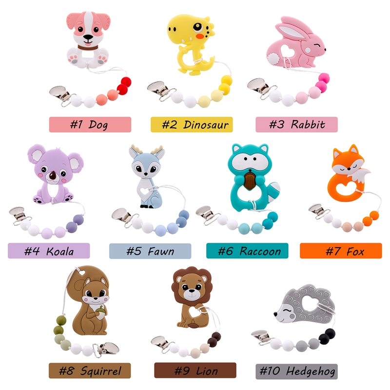 1PC Baby Pacifier Chain Perle Silicone Beads Fox Teether Rodents Teething Nipple Holder Silicone Nurse Gifts Children's Products