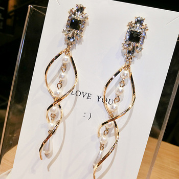 CRYSTAL PEARL TASSEL EARRINGS 1