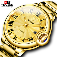 TEVISE Fashion  Automatic Mechanical Men Watch Golden Stainlesss steel Male Clock Top Luxury Brand Wristwatch
