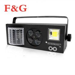 F & G LED Mini Bühne Lichter DJ Disco Strobe + Laser + Muster + Schmetterling 4in1 Effekt Licht Für KTV Disco DJ Familie Party Licht Zeigen