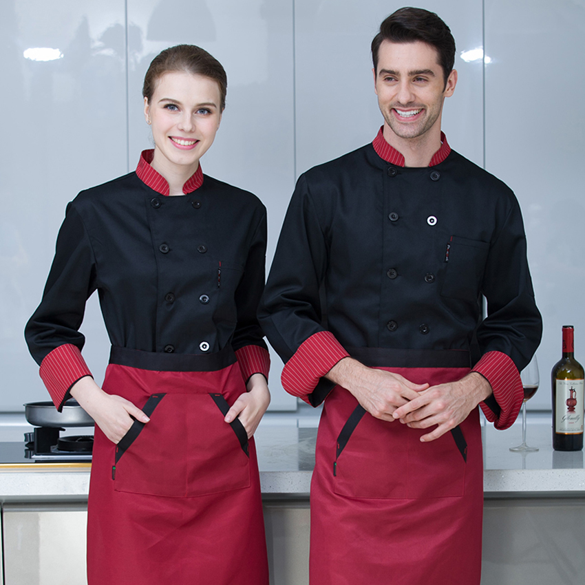 Unisex Casual Soft Chef Jackets Long Sleeve Oblique Collar Double Breasted Kitchen Catering Restaurant Food Serive Work Uniform