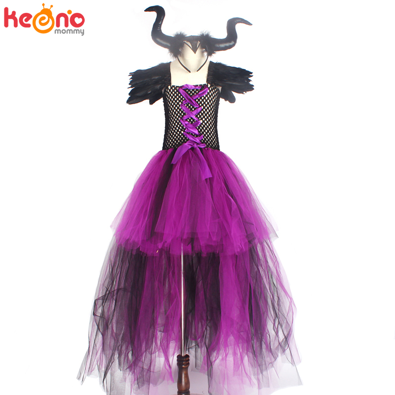 Halloween Maleficent Evil Dark Queen Girls Tutu Dress with Horns Wicked Witch Kids Cosplay Party Ball Gown Costume Fancy Clothes 5