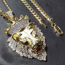 Milangirl Trendy Hip Hop Rock Punk Lion Head Shape Pendant Necklaces All Crystal Luxury Gold Domineering Necklace for Men Women(China)