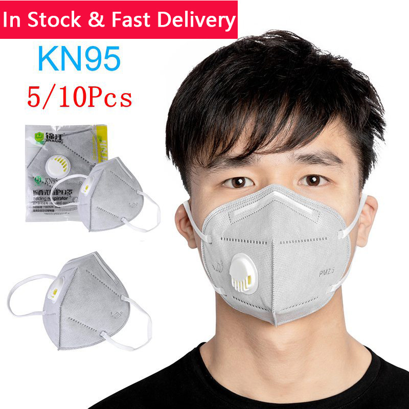 In Stock! 5/10Pcs Mask KN95 PM2.5 Folding Valved Dust Mask Anti Pollution Mask Prevent Flu Transmission