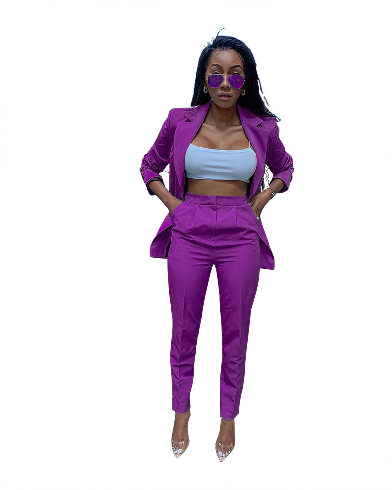 Fashion Pants Suit Women Notched Long Sleeve Single Button Blazer Jacket+Pant Tracksuits Office Wear Two Piece Set Casual Outfit
