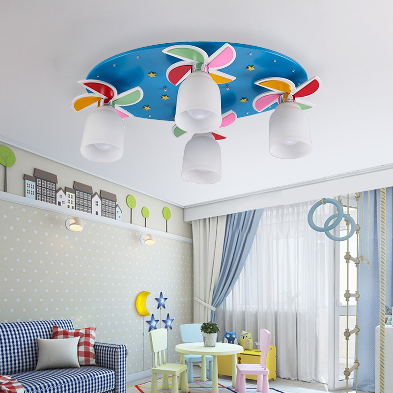 Children Pendant Lights Windmill Cartoon Personality Violinkids Bedroom Light Boy Girl Warm Music Creative Lamp