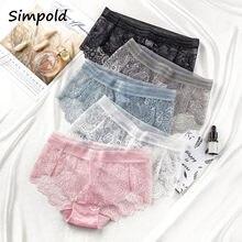 Simpold – culotte en dentelle grande taille pour femme, sous-vêtement Sexy, taille haute, motif floral, à la mode