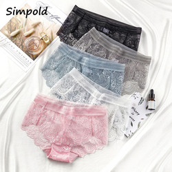 Simpold Sexy Women's Lingerie High Waist Underwear Flower Lace Panties Large Size Shorts Female Fashion Briefs