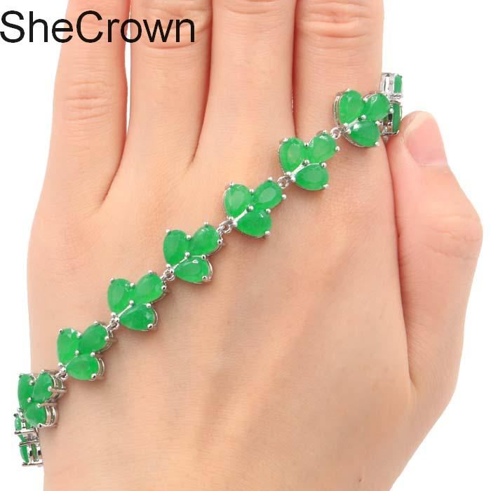 Classic Real Green Emerald Woman s Wedding Silver Bracelet 7 5 8 0in 16x13mm