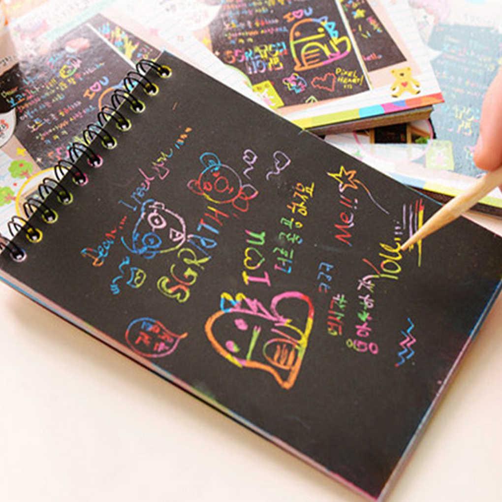 1 Libro Colorful Dazzle di Scratch Nota Sketchbook Carta Graffiti Fai da Te Bobine di Disegno Libro per Bambini di Disegno Libro di Colore Casuale